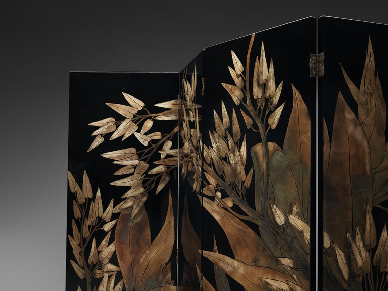 French Room Divider in Laque D'Argent, 1970s For Sale 1