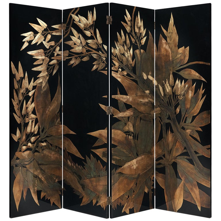 French Room Divider in Laque D'Argent, 1970s For Sale