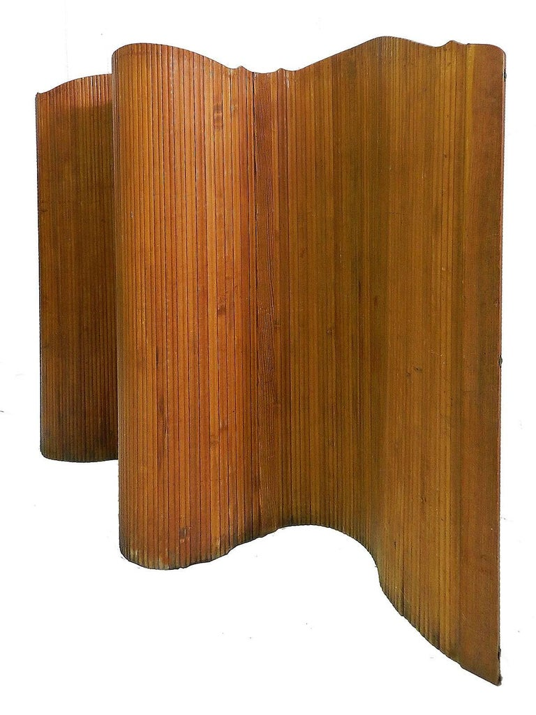 French Room Divider Wood Roll up Screen by SNSA Midcentury Art