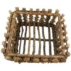 French Root Wood Basket / Centerpiece,/Folk Art circa 1930