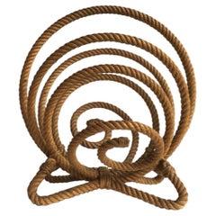 French Rope Magazine Rack Audoux Minet, circa 1960
