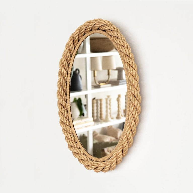 French Rope Oval Mirror by Audoux-Minet In Good Condition For Sale In Los Angeles, CA