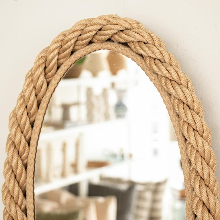French Rope Oval Mirror by Audoux-Minet For Sale 1