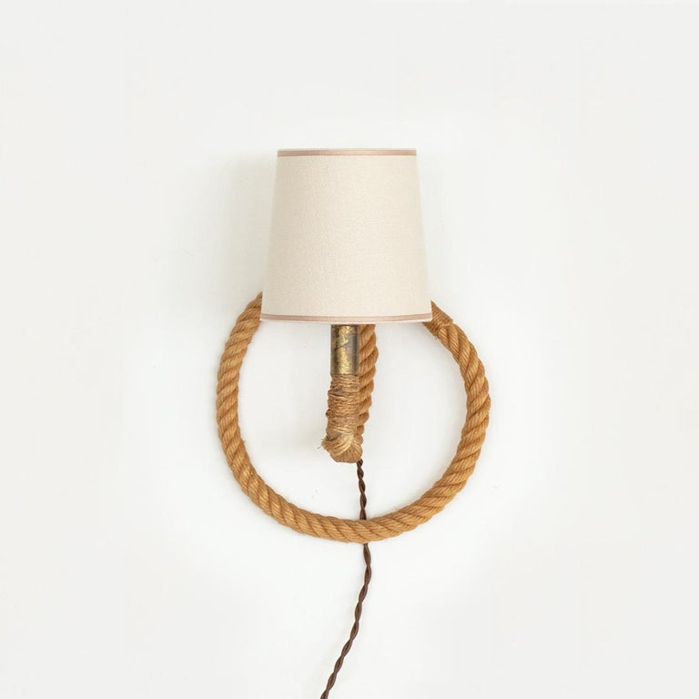 Mid-Century Modern French Rope Sconce by Audoux Minet For Sale