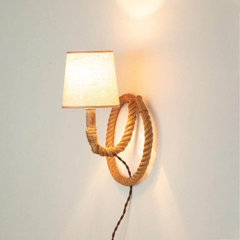 Mid-20th Century French Rope Sconce by Audoux Minet For Sale