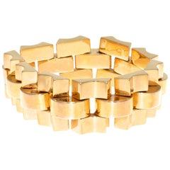 French Rose Gold 1940s Retro Tank Bracelet