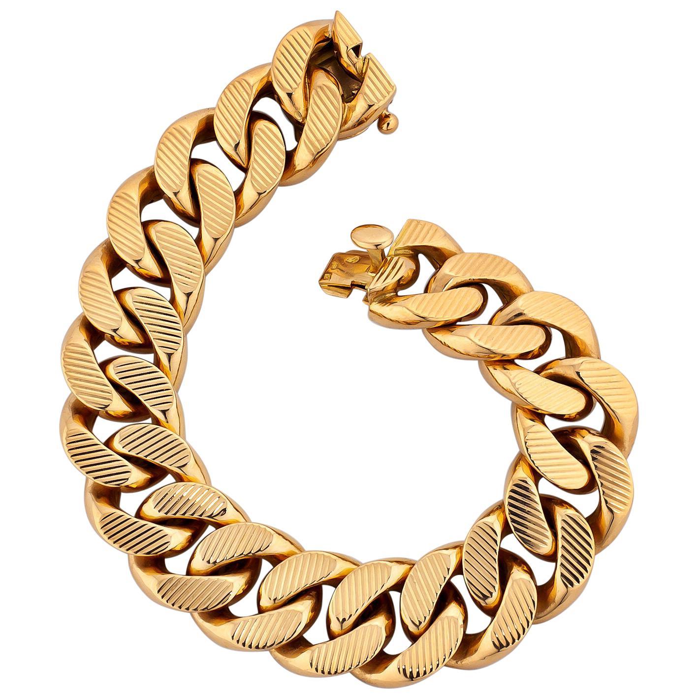 French Rose Gold Textured Curb Link Bracelet