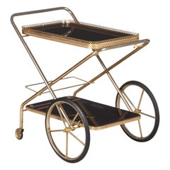French Rosewood and Brass Folding Bar Cart, 1980s