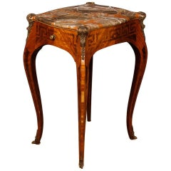 French Rosewood and Palisander Inlaid Louis XV Style Side Table with Marble Top