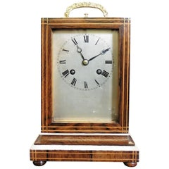 French Rosewood Campaign Clock by Martin Baskett, Paris