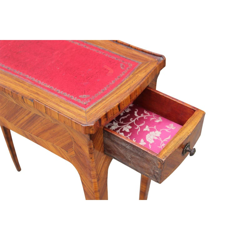 Louis XV French Rosewood Sewing Table with Bronze Ormolu and Leather For Sale