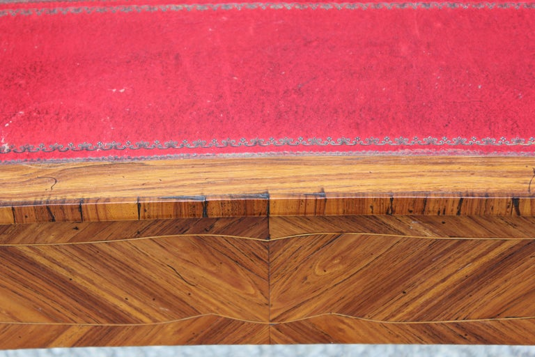 French Rosewood Sewing Table with Bronze Ormolu and Leather For Sale 2