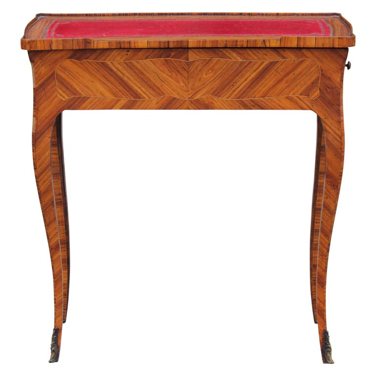 French Rosewood Sewing Table with Bronze Ormolu and Leather For Sale