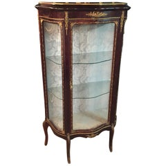 French Rosewood Vitrine with Brass, circa 1900