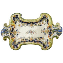 French Rouen Faience Hand Painted Decorative Wall Plate