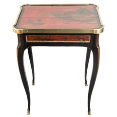 French, Rouge Lacquer, Chinoiserie Occasional Table