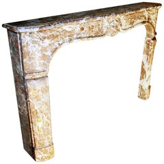 French Rouge Royale Marble Mantel; Hand Carved with Shell Motif