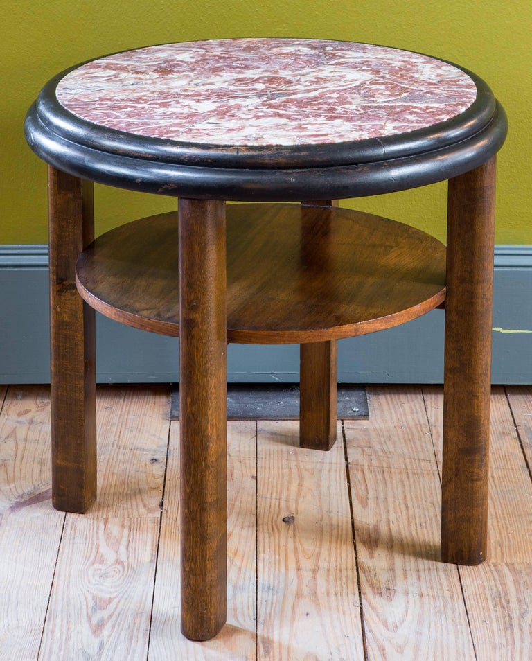 French Round Art Deco Mahogany Side Table with Red Marble Top, circa 1920 In Excellent Condition For Sale In Houston, TX