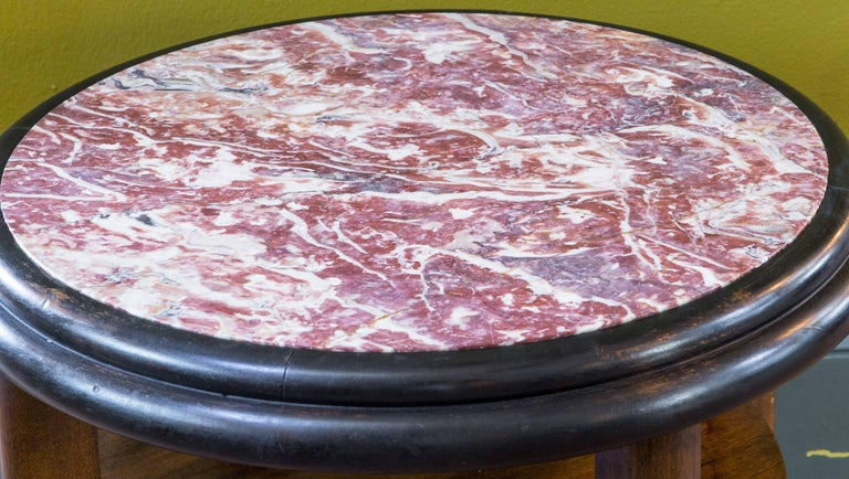 Early 20th Century French Round Art Deco Mahogany Side Table with Red Marble Top, circa 1920 For Sale