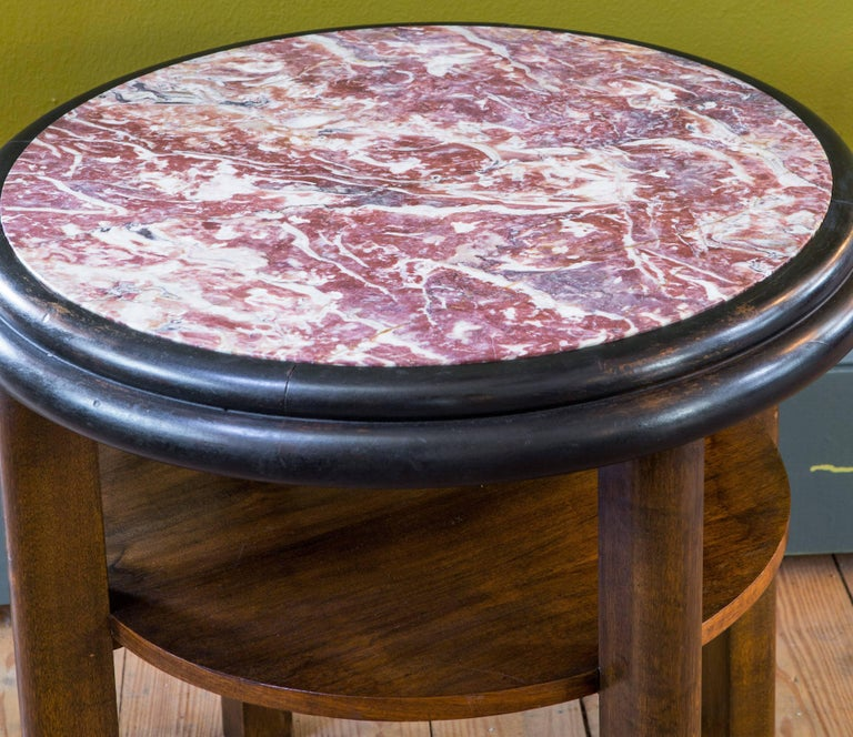 French Round Art Deco Mahogany Side Table with Red Marble Top, circa 1920 For Sale 1