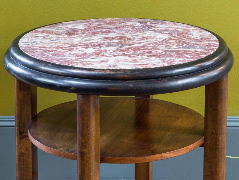French Round Art Deco Mahogany Side Table with Red Marble Top, circa 1920 For Sale 2