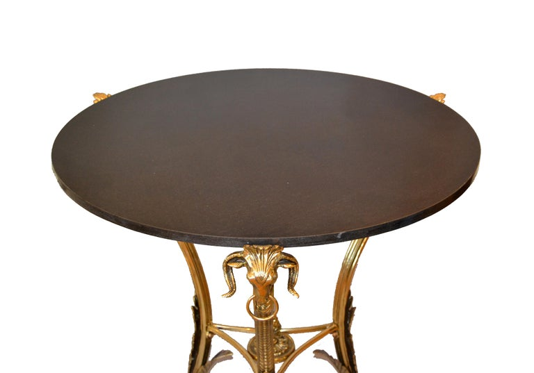 French Round Bronze Gueridon Style Table Rams Heads and Feet with Granite Top For Sale 4