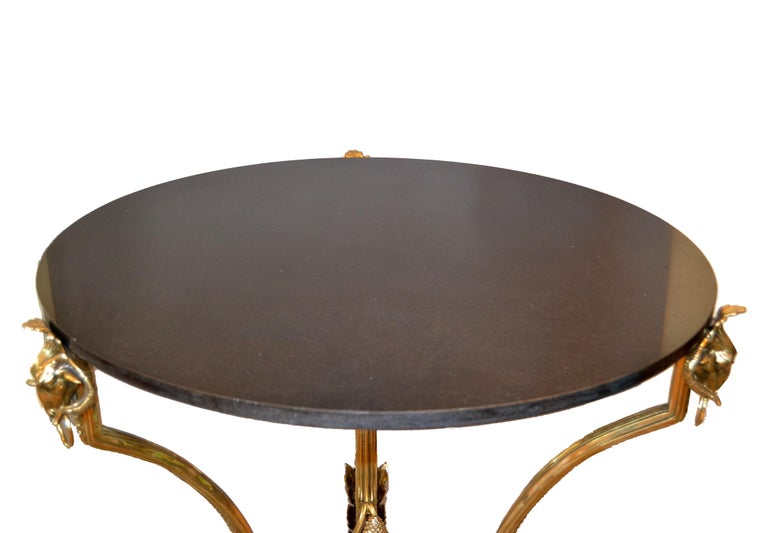 Polished French Round Bronze Gueridon Style Table Rams Heads and Feet with Granite Top For Sale