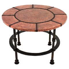 French Round Coffee Table in Wrought Iron and Copper