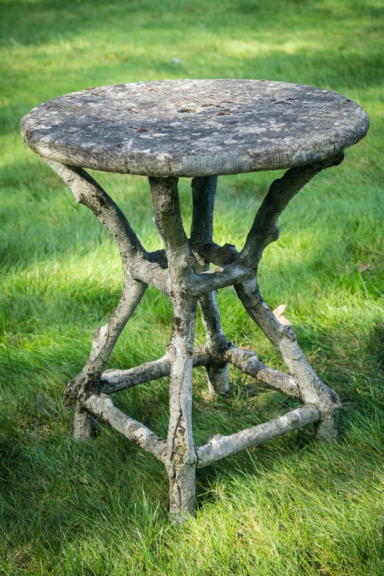 French Round Faux Bois Garden Table For Sale At 1stdibs