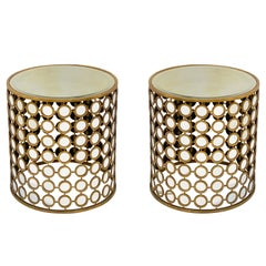 French Round Gilt Metal and Mirrored Glass Side Tables 'Priced Individually'