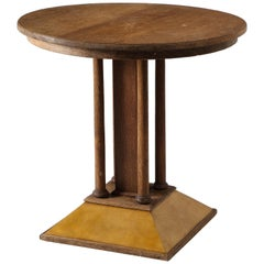 French Round Gueridon in Raw Oak and Parchment, France, 1940