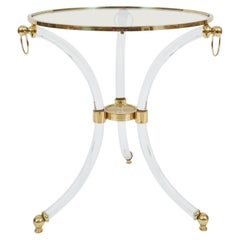 French Round Lucite Glass and Brass Side Table, circa 1970