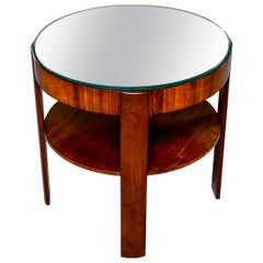 French Round Mahogany Side Table with Mirror Top