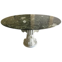 French Round Marble Dining Table with Pedestal Base