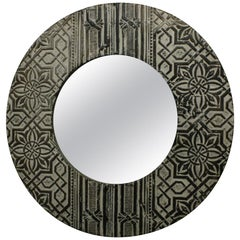 French Round Mirror Made of Antique Art Deco Pressed Tin Ceiling Tiles