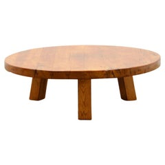 French Round Oak Brutalist Coffee Table