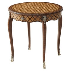 French Round Parquetry Side Table