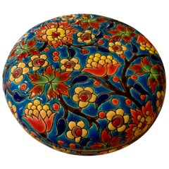French Round Porcelain Box by Emaux de Longwy