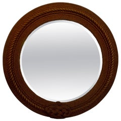 French Round Rope Beveled Mirror by Audoux & Minet