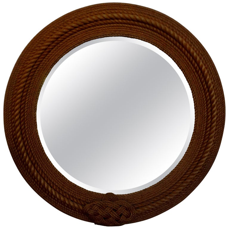 French Round Rope Beveled Mirror by Audoux & Minet For Sale