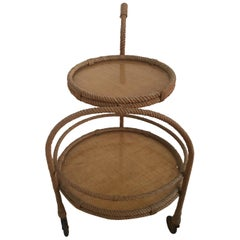 French Round Serving Cart by Adrien Audoux & Frida Minet, 1960s