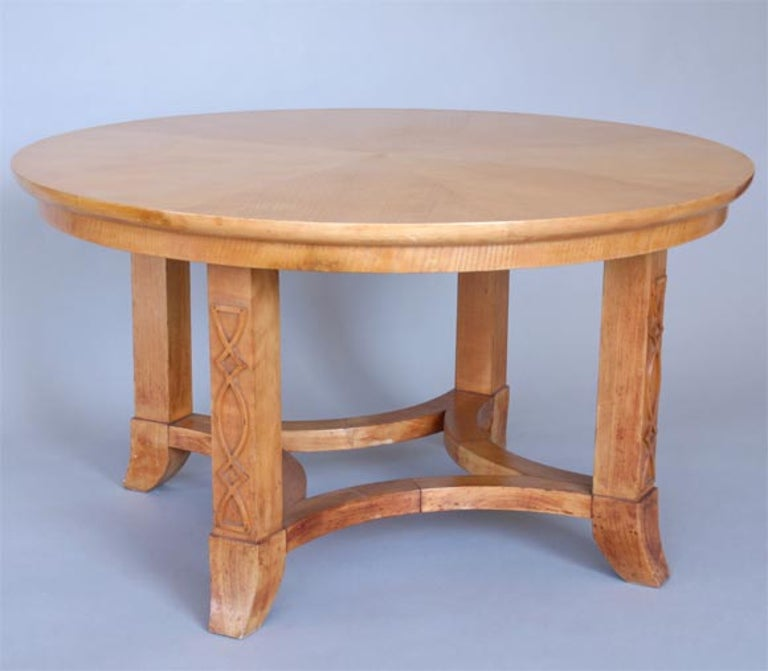 Mid-Century Modern French Round Sycamore Wood Coffee or Side Table in Style of Andre Arbus For Sale