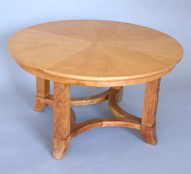 French Round Sycamore Wood Coffee or Side Table in Style of Andre Arbus In Good Condition For Sale In Chicago, IL