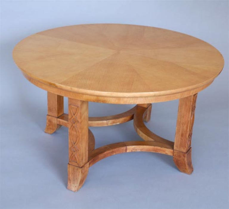 Mid-20th Century French Round Sycamore Wood Coffee or Side Table in Style of Andre Arbus For Sale