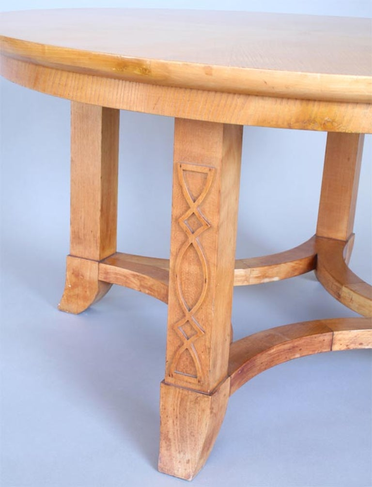 French Round Sycamore Wood Coffee or Side Table in Style of Andre Arbus For Sale 1