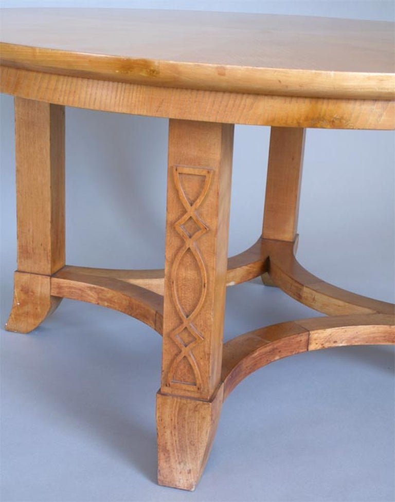 French Round Sycamore Wood Coffee or Side Table in Style of Andre Arbus For Sale 2