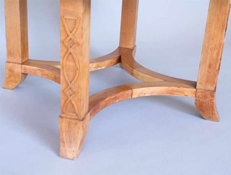 French Round Sycamore Wood Coffee or Side Table in Style of Andre Arbus For Sale 3