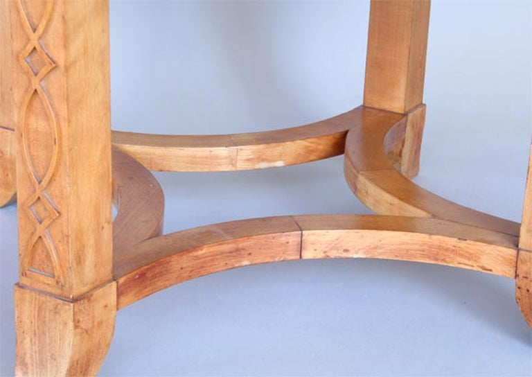 French Round Sycamore Wood Coffee or Side Table in Style of Andre Arbus For Sale 4