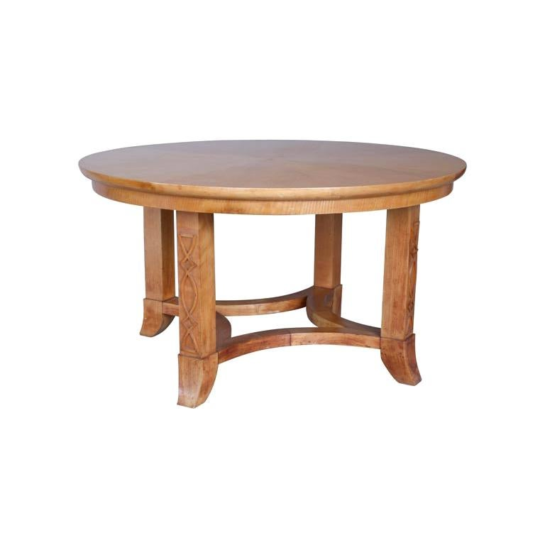 French Round Sycamore Wood Coffee or Side Table in Style of Andre Arbus For Sale