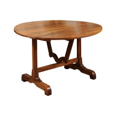 French Round Walnut Wine Tasting Table, circa 1880